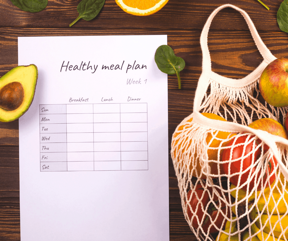 Meal planning sheet with bag of groceries