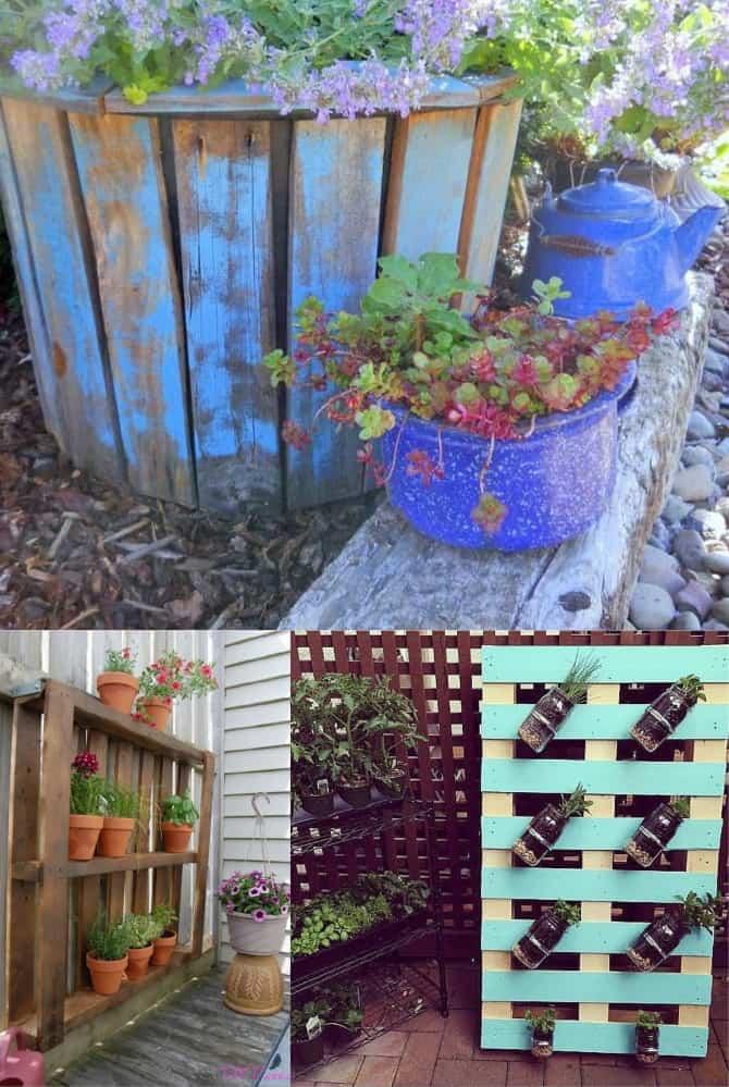 image collage of unique pallet garden ideas