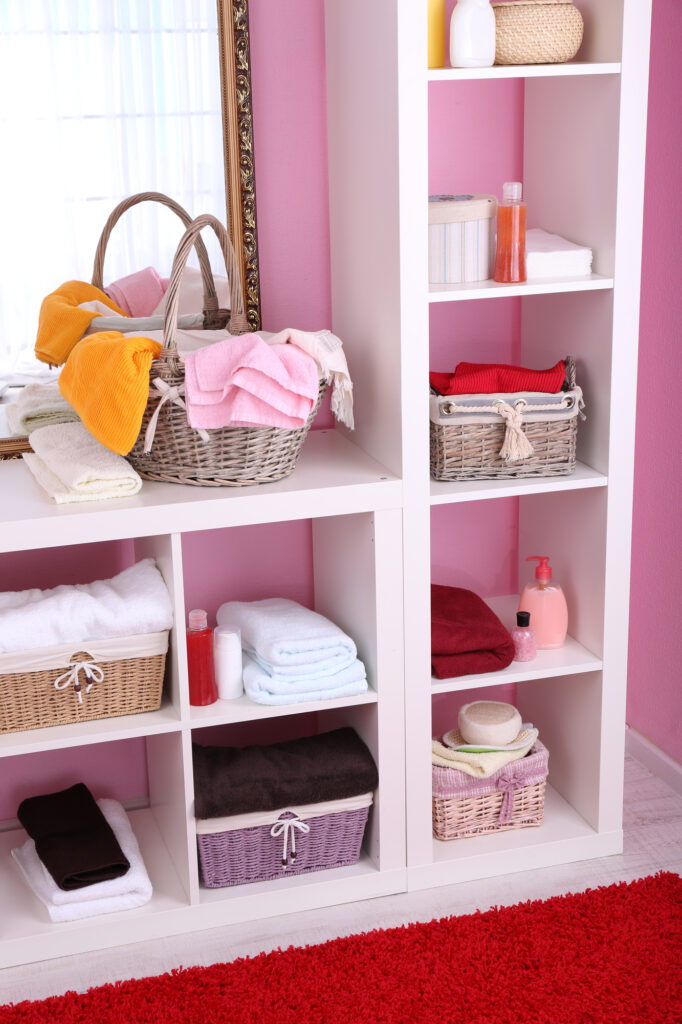 Cube Shelves being used in bathroom
