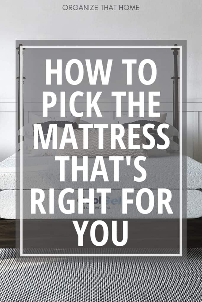 mattress with pillows and text How to Pick the Mattress that's Right for You