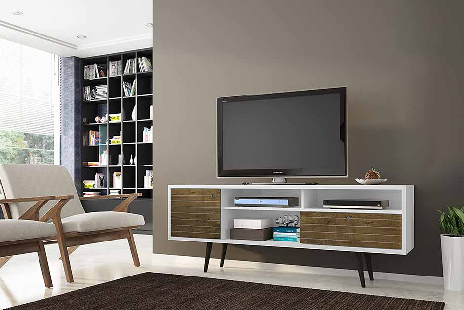 white and wood mid century modern tv stand with single door and drawer and open shelving