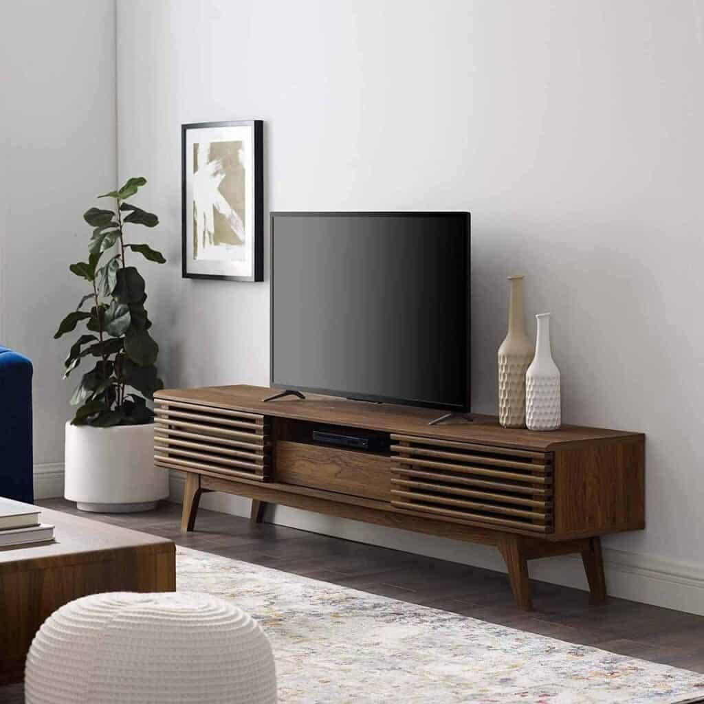 low profile mid century modern tv stand in walnut