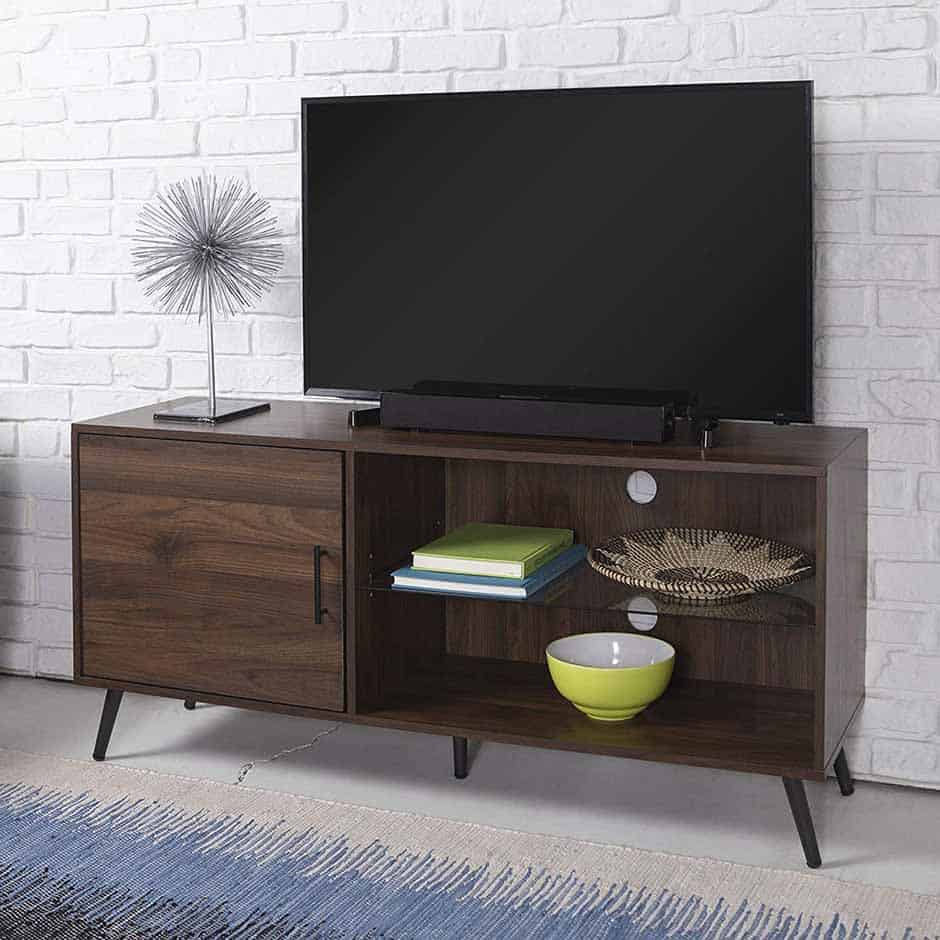 mid century modern tv stand with single door and glass shelves