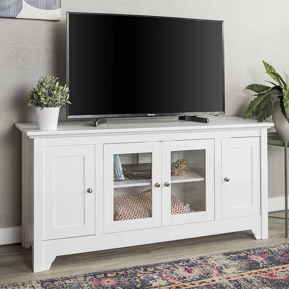 white tv stand with coastal mid century vibe