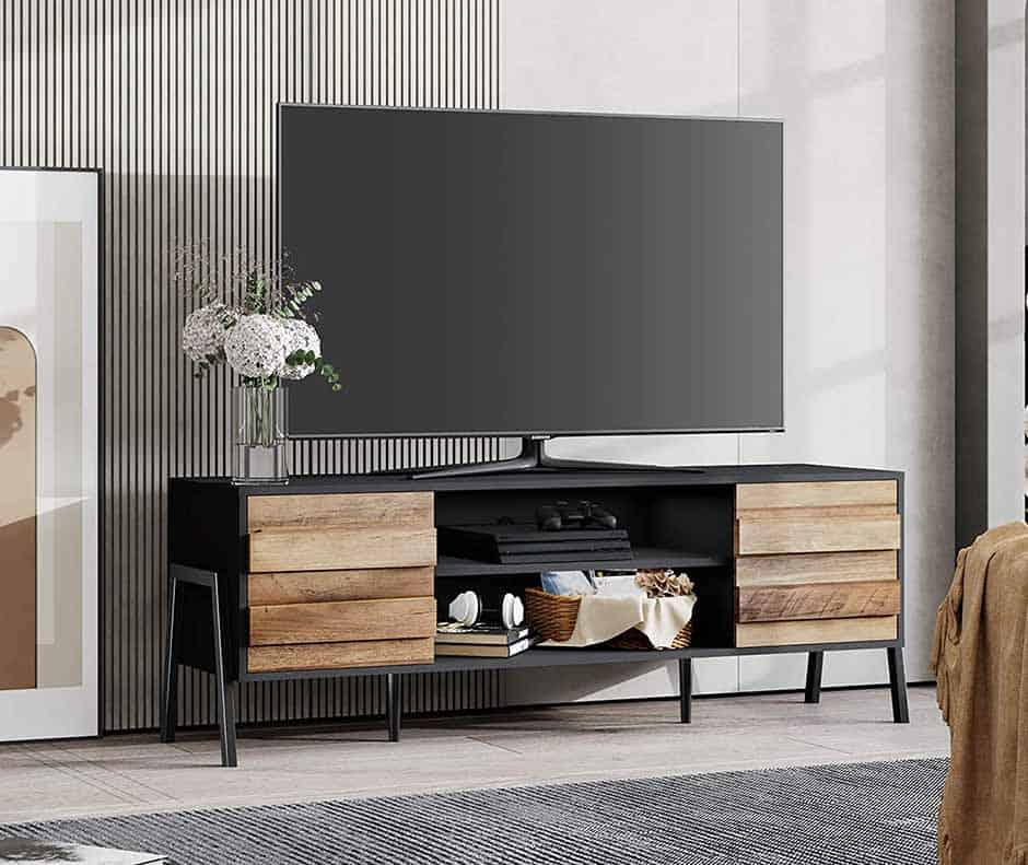 mid century modern tv stand with natural wood doors and shelves in the middle