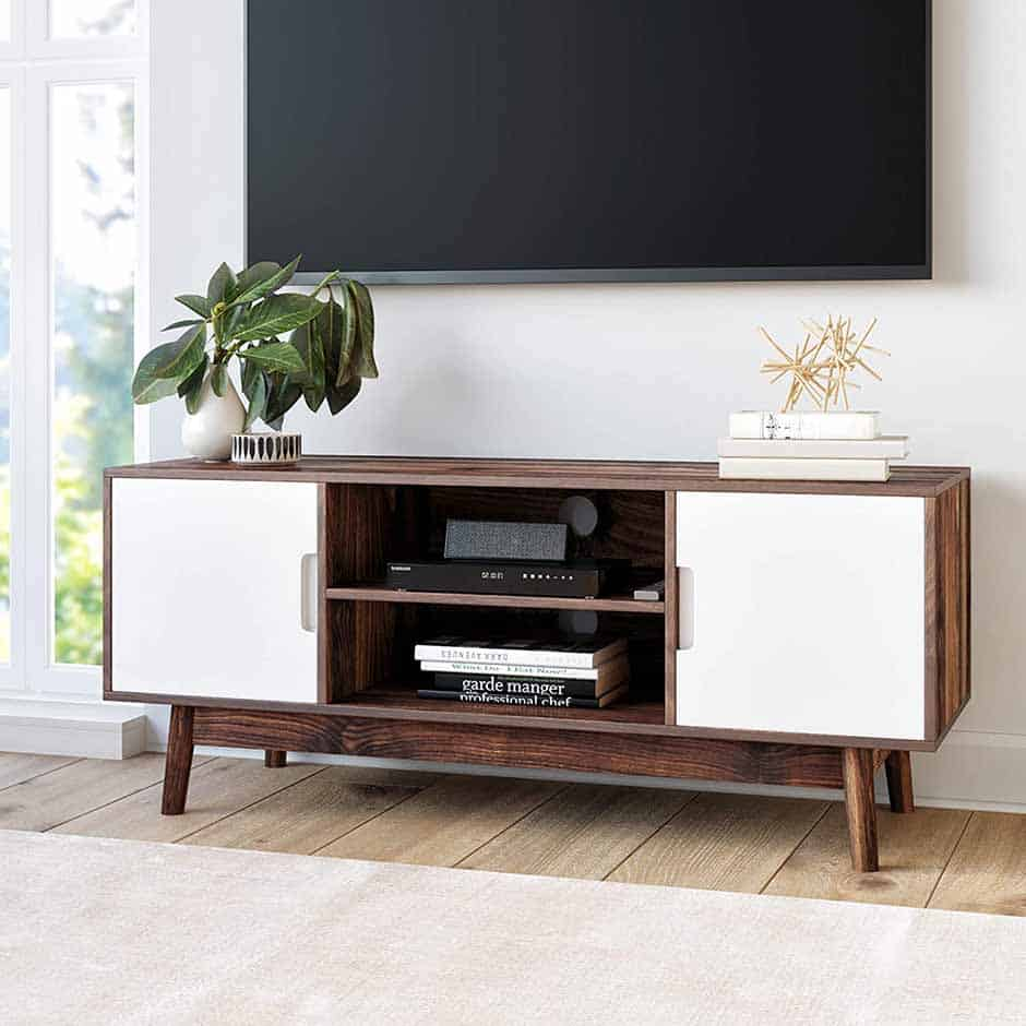 mid century modern tv stand with two doors and shelves in the middle