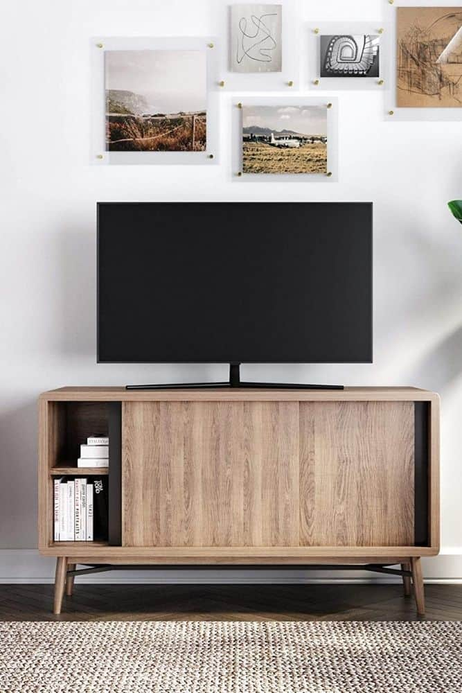 mid century modern tv stand with sliding doors