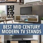 image collage of best midcentury modern tv stands with text Best Mid Century Modern TV Stands