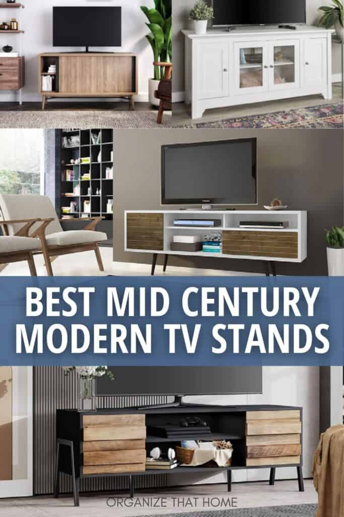 image collage of best midcentury modern tv stands with text Best Mid Century Modern TV Stands