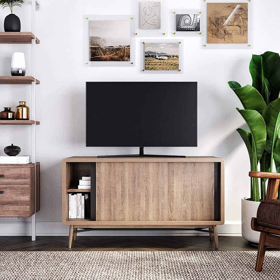 mid century tv stand with sliding doors