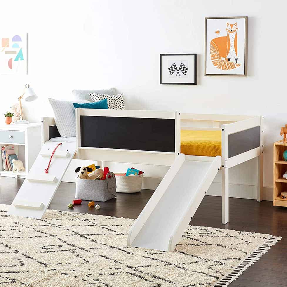 child's loft bed with slide and climbing ramp