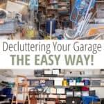 image collage of messy garage shelves