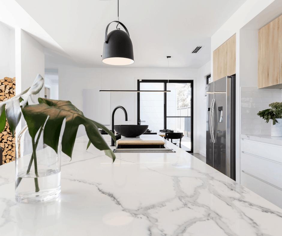 white marble counter on kitchen island