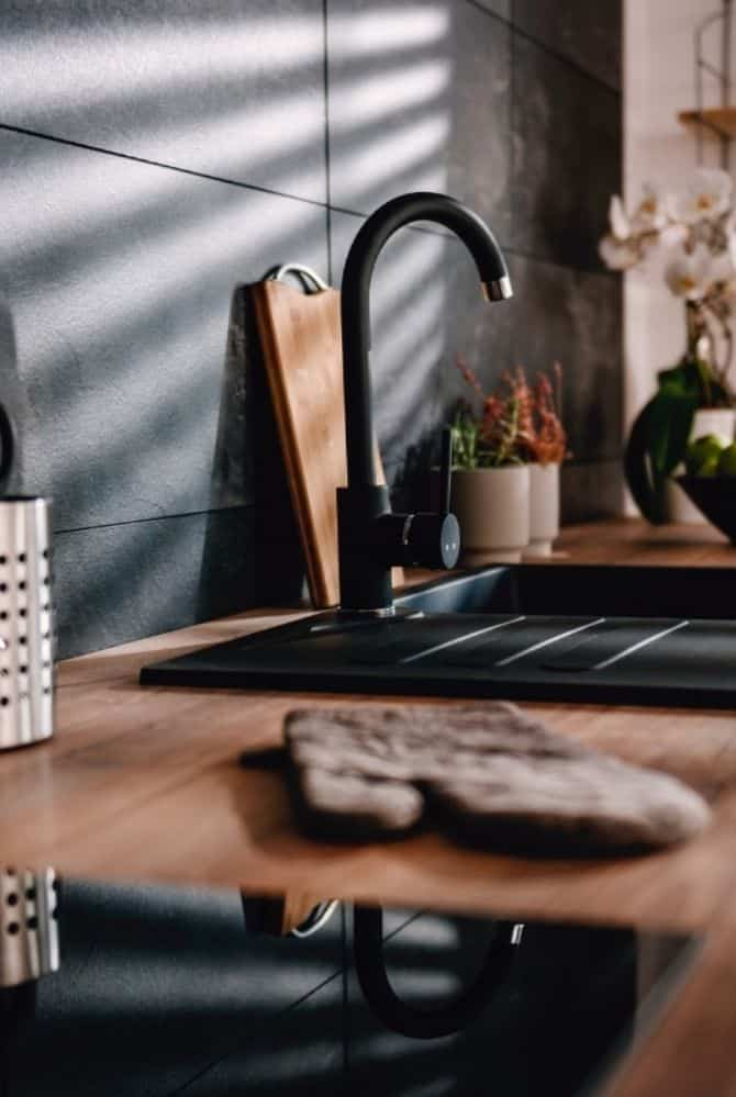 Wooden kitchen counter and sink