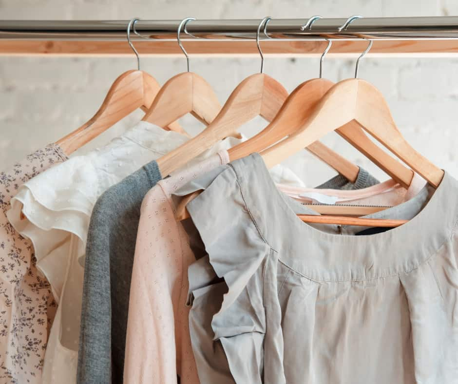 clothes on hangers when you declutter your closet