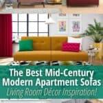 image collage of mid-century modern apartment sofas