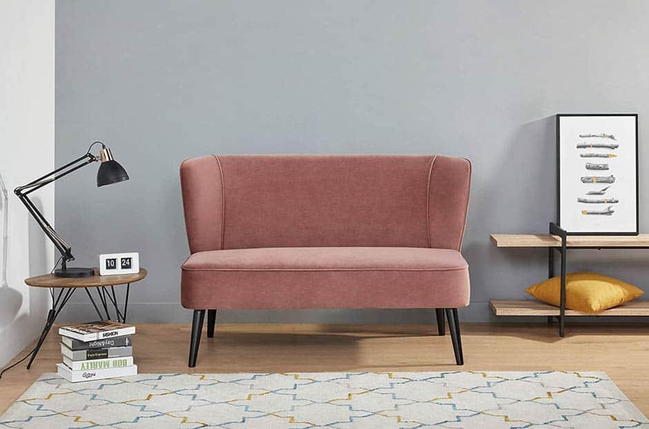 rose colored mid-century modern apartment sofa