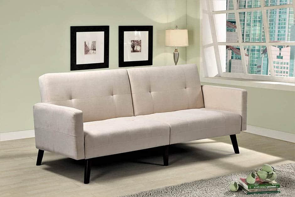 cream colored convertible sleeper sofa