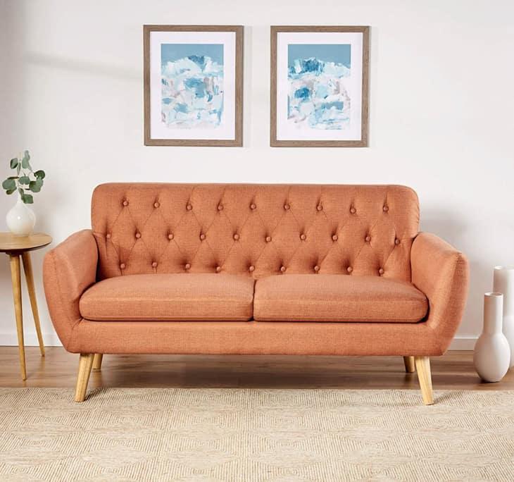 burnt organe mid-century modern apartment sofa