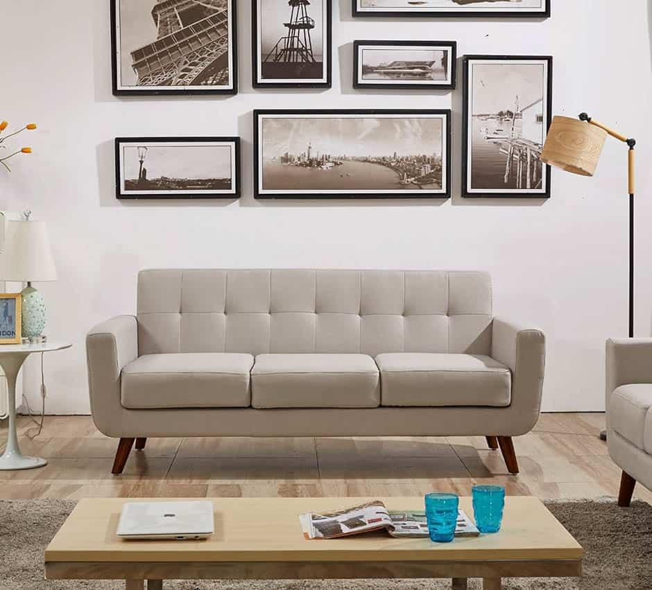 beige mid-century modern apartment sofa
