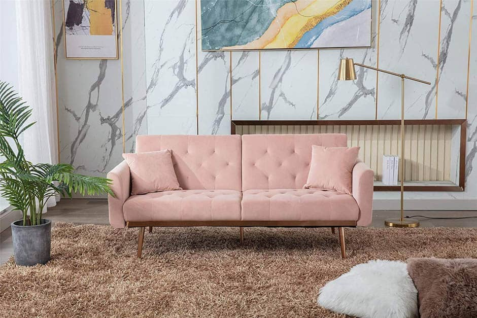 pink convertible sofa