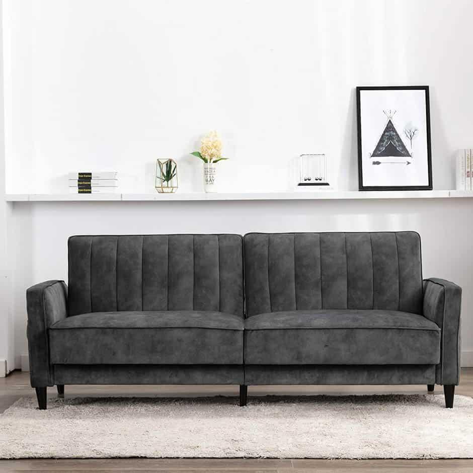 dark gray velvet mid-century modern apartment sofa