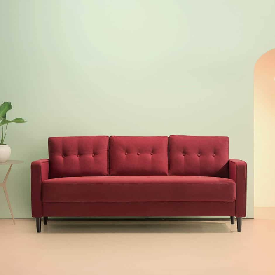 ruby red mid-century modern apartment sofa