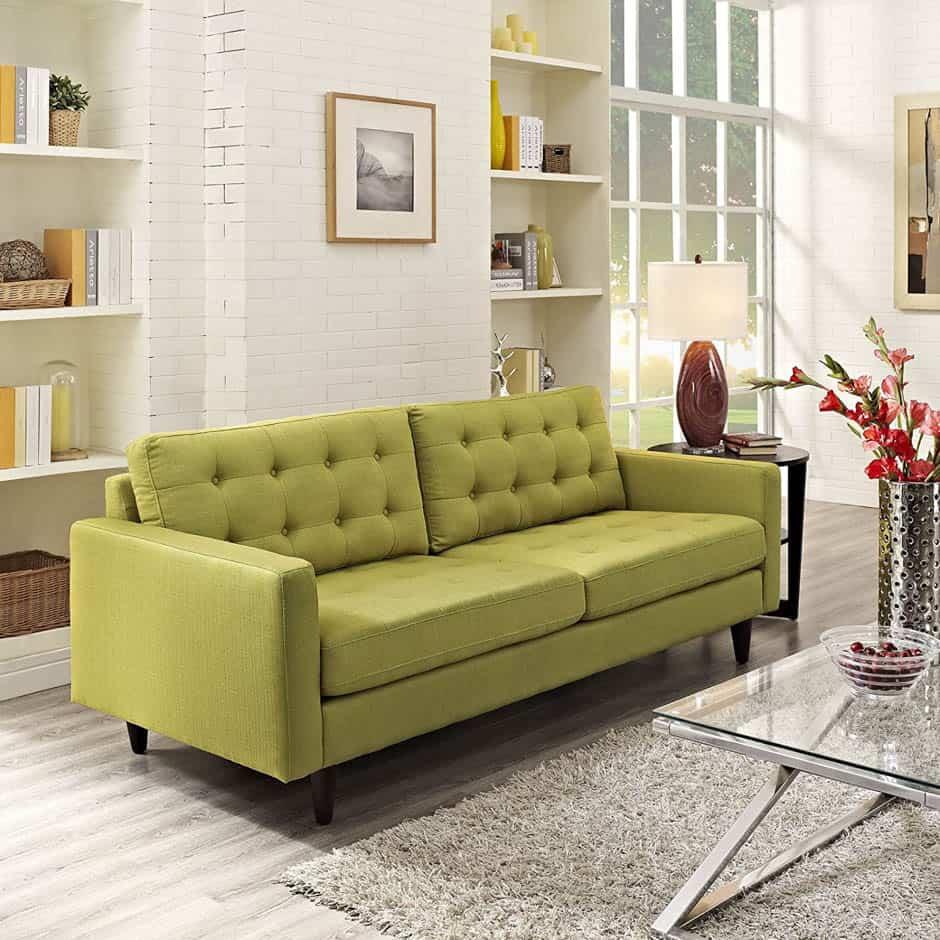 green mid-century modern sofa