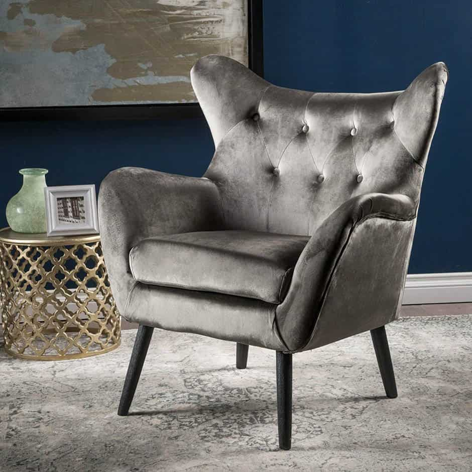 gray tufted mid century modern chair