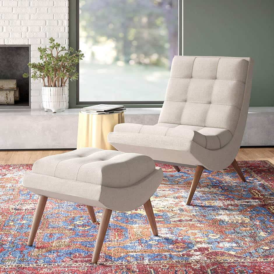 off white tufted armless chair and ottoman