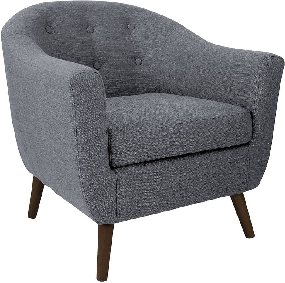 gray tufted barrel chair