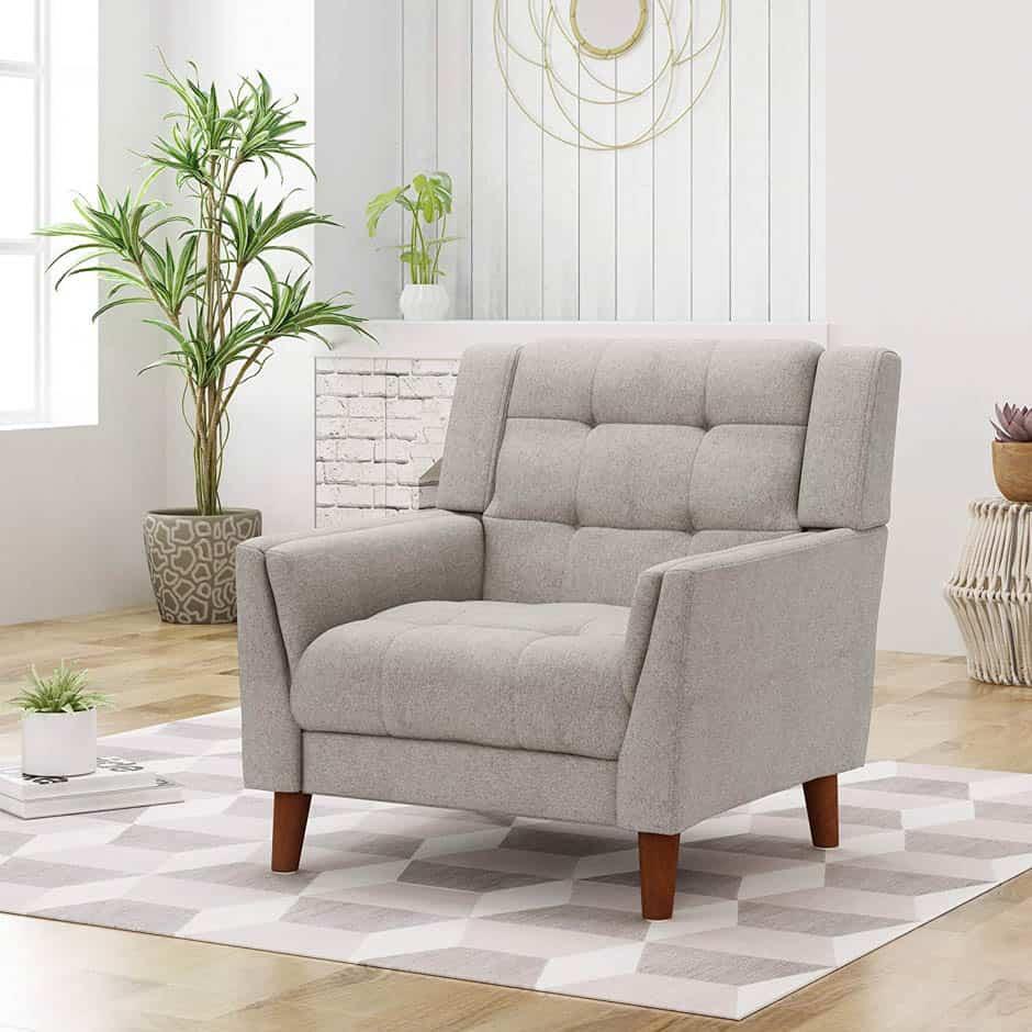 beige mid century modern chair