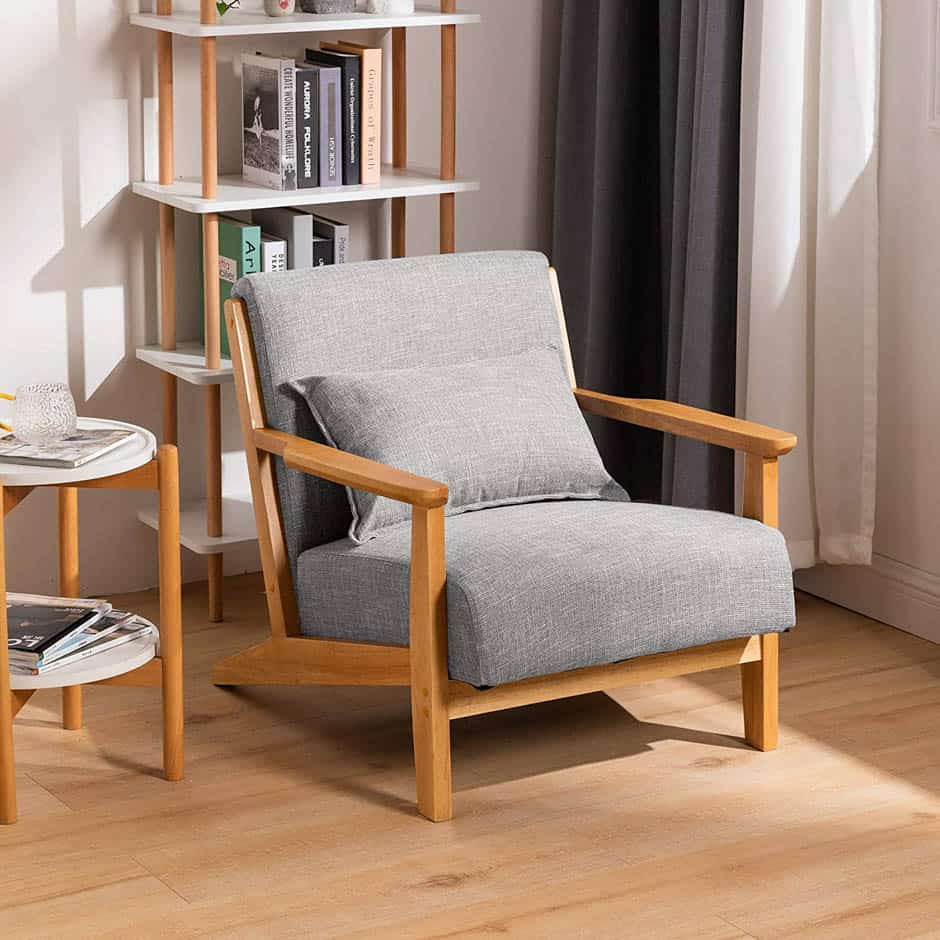 midcentury modern chair with wood arms